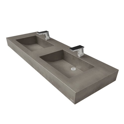 "60"" ADA Floating Concrete Half-Trough Sink FLO-60C-DBL-ADA Concrete color shown in Dusk Wall mount concrete floating sink"