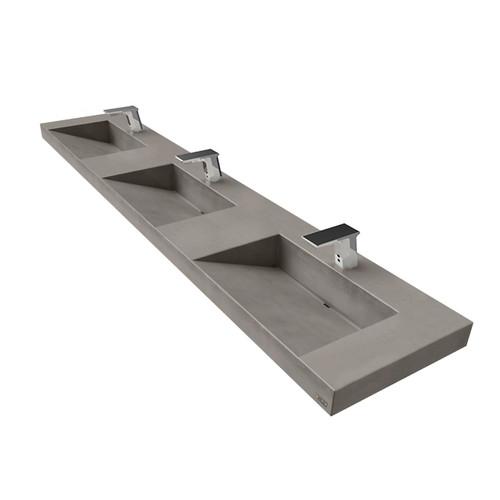 """90"""" Contempo Floating Concrete Triple Ramp Sink FLO-90V-TPL-CONTEMPO Concrete Sink show in Graphite"""