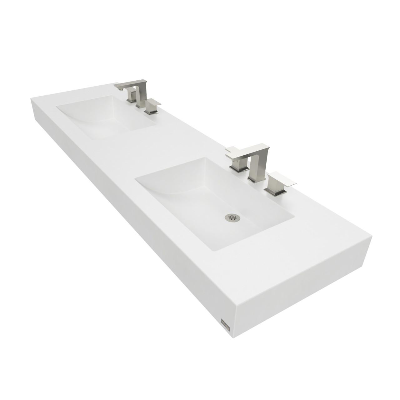 Trueform 72 Ada Floating Concrete Double Half Trough Sink