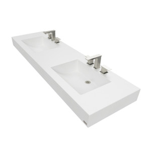 "72"" ADA Floating Concrete Double Half-Trough Sink  FLO-72C-DBL-ADA Concrete color shown in White Linen"