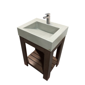 "Trueform 24"" Lavare Vanity with Concrete Ramp Sink is a modern sink with contemporary features for the bathroom, or powder room. Vanity top integral sink with base. Concrete shown in Limestone : Base in Chocolate. Wharton, New Jersey"