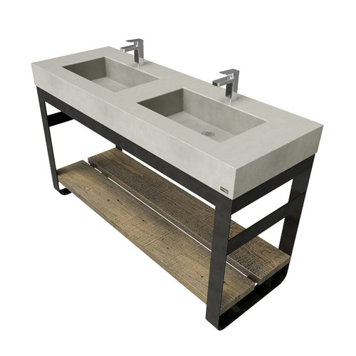 """60"""" Outland Vanity With Double Concrete Rectangle Sinks OUTLAND-60N-DBL Concrete color shown in Limestone"""