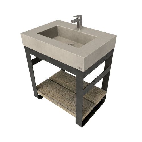 "30"" Outland Vanity With Concrete Rectangle Sink OUTLAND-30N Concrete color shown in Taupe"