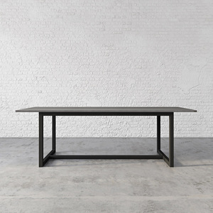 "The Union Concrete Dining Table, shown in the color ""Graphite"" with ""Industrial Dark"" base finish. TBL-UNIONDINE-C"