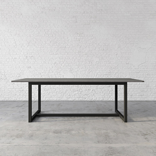 """The Union Concrete Dining Table, shown in the color """"Graphite"""" with """"Industrial Dark"""" base finish. TBL-UNIONDINE-C"""