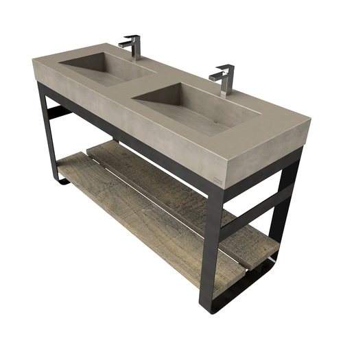 "60"" Outland Vanity With Double Concrete Ramp Sinks OUTLAND-60V-DBL Concrete color shown in Pewter"