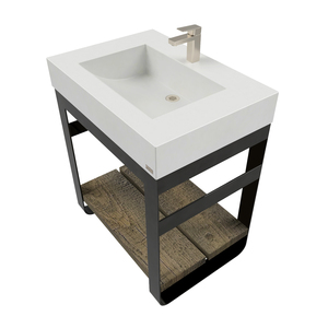 "30"" Outland Vanity With Concrete Half-Trough Sink OUTLAND-30C Concrete color shown in White Linen"