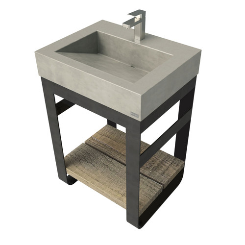 """24"""" Outland Vanity With Concrete Ramp Sink OUTLAND-24V Concrete color shown in Taupe"""