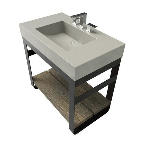 "36"" Outland Vanity With Concrete Half-Trough Sink OUTLAND-36C Concrete color shown in Limestone"