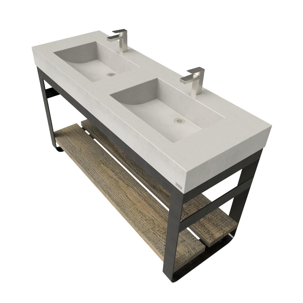 60 Outland Vanity With Double Concrete Half Trough Sinks Trueform Concrete