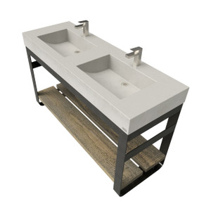 "60"" Outland Vanity With Double Concrete Half-Trough Sinks OUTLAND-60C-DBL Concrete color shown in Concrete"