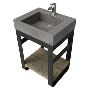 "24"" Outland Vanity With Concrete Rectangle Sink OUTLAND-24N Concrete color shown in Charcoal"