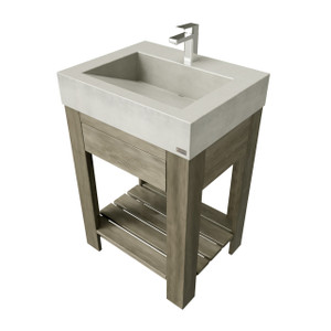 "24"" Lavare Vanity with Concrete Ramp Sink & Drawer SKU- LAVARE-24V-D Concrete color shown in limestone Wood Base shown in Grey Maple"