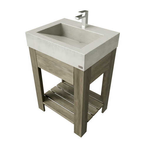 """24"""" Lavare Vanity with Concrete Ramp Sink & Drawer SKU- LAVARE-24V-D Concrete color shown in limestone Wood Base shown in Grey Maple"""