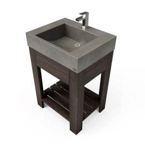 "24"" Lavare Vanity with Concrete Half-Trough Sink & Drawer SKU: LAVARE-24C-D Concrete color shown in Dusk Vanity Base finish shown in Espresso"