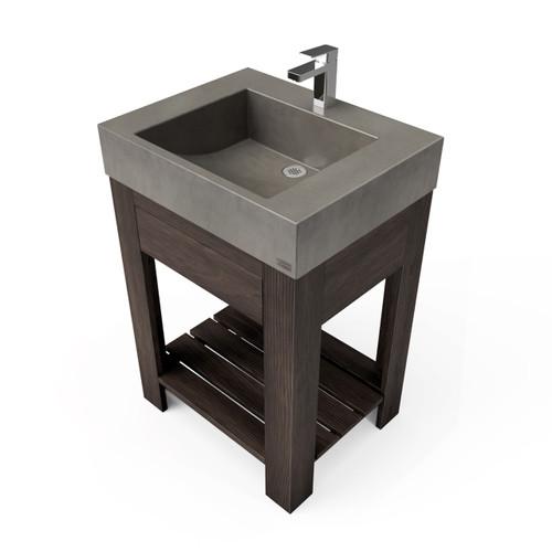"24"" Lavare Vanity with Concrete Half-Trough Sink & Drawer SKU: LAVARE-24C-D Concrete color shown in Dusk Vanity Base finish shown in Espresso"
