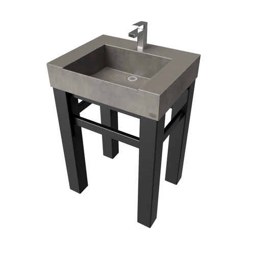 """24"""" Industrial Vanity With Concrete Half Trough Sink  SKU: IND-24C Concrete color shown in: Dusk Steel Base finish shown in: Painted Black"""