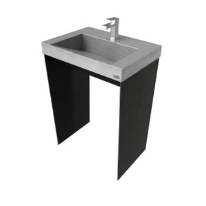 "24"" Contempo Vanity With Concrete Ramp Sink CONTEMPO-24V Concrete color shown in: Graphite Steel Base finish shown in: Painted Black"