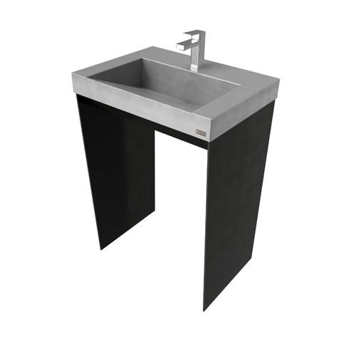 "24"" Contempo Vanity With Concrete Ramp Sink CONTEMPO-24V Concrete color shown in: Graphite Steel Base finish shown in: Painted Black"