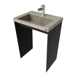 "32"" Contempo Vanity With Concrete Ramp Sink CONTEMPO-32V Concrete color shown in: Taupe Steel Base finish shown in: Painted Black"