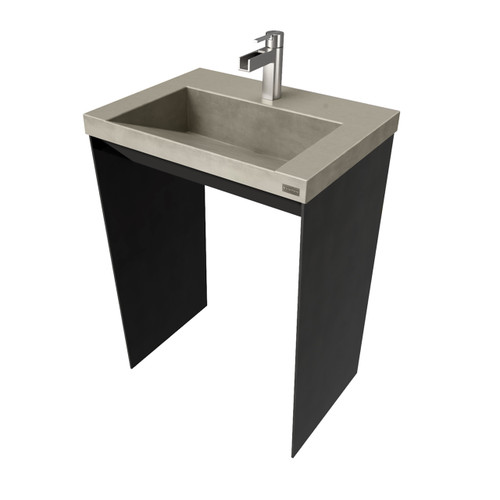 """32"""" Contempo Vanity With Concrete Ramp Sink CONTEMPO-32V Concrete color shown in: Taupe Steel Base finish shown in: Painted Black"""