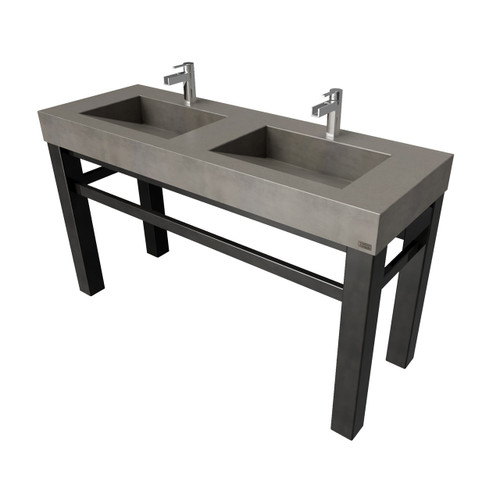 "60"" Industrial Vanity With Double Concrete Ramp Sinks SKU: IND-60V-DBL Concrete shown in the color ""Dusk"" Steel Base finish shown in ""Painted Black"""
