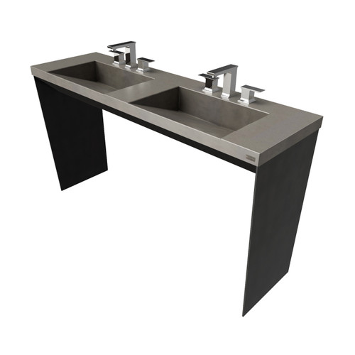 """60"""" Contempo Vanity With Double Concrete Ramp Sinks SKU: CONTEMPO-60V-DBL Concrete Color shown in the color: """"Dusk"""" Steel Base Finish shown in the: """"Painted Black"""""""