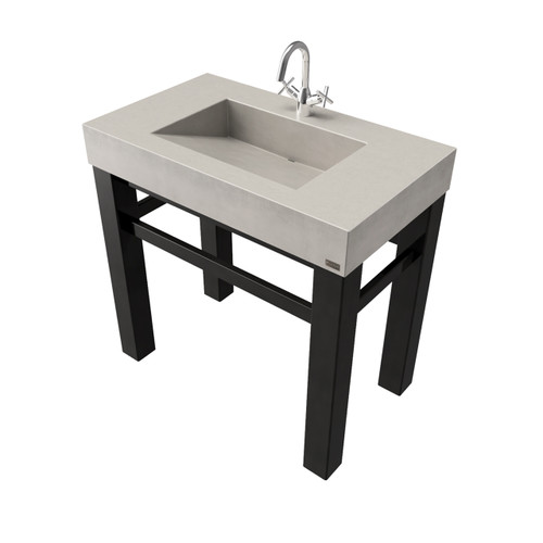 """36"""" Industrial Vanity With Concrete Ramp Sink SKU: IND-36V Concrete color shown in: """"Limestone"""" Steel Base Finish shown in: """"Painted Black"""""""