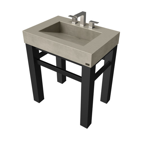 """30"""" Industrial Vanity With Concrete Ramp Sink SKU: IND-30V Concrete color shown in: """"Taupe"""" Steel Base Finish shown in: """"Painted Black"""""""