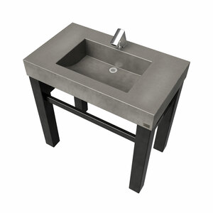 "36"" Industrial Vanity With Concrete Half-Trough Sink SKU: IND-36C Concrete Color shown in: ""Charcoal"" Steel base finish shown in: ""Painted"""