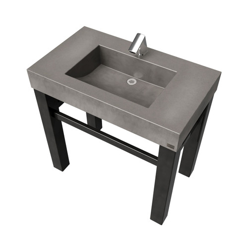 """36"""" Industrial Vanity With Concrete Half-Trough Sink SKU: IND-36C Concrete Color shown in: """"Charcoal"""" Steel base finish shown in: """"Painted"""""""