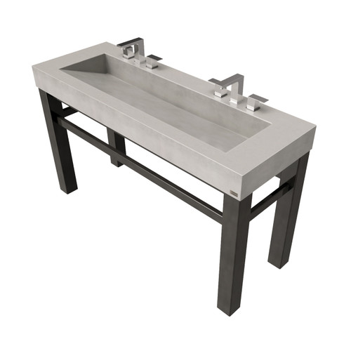 """60"""" Industrial Vanity With Concrete Ramp Sink SKU: IND-60V Concrete Color Shown in: """"Concrete"""" Steel Base Finish Shown in: """"Painted Black"""""""