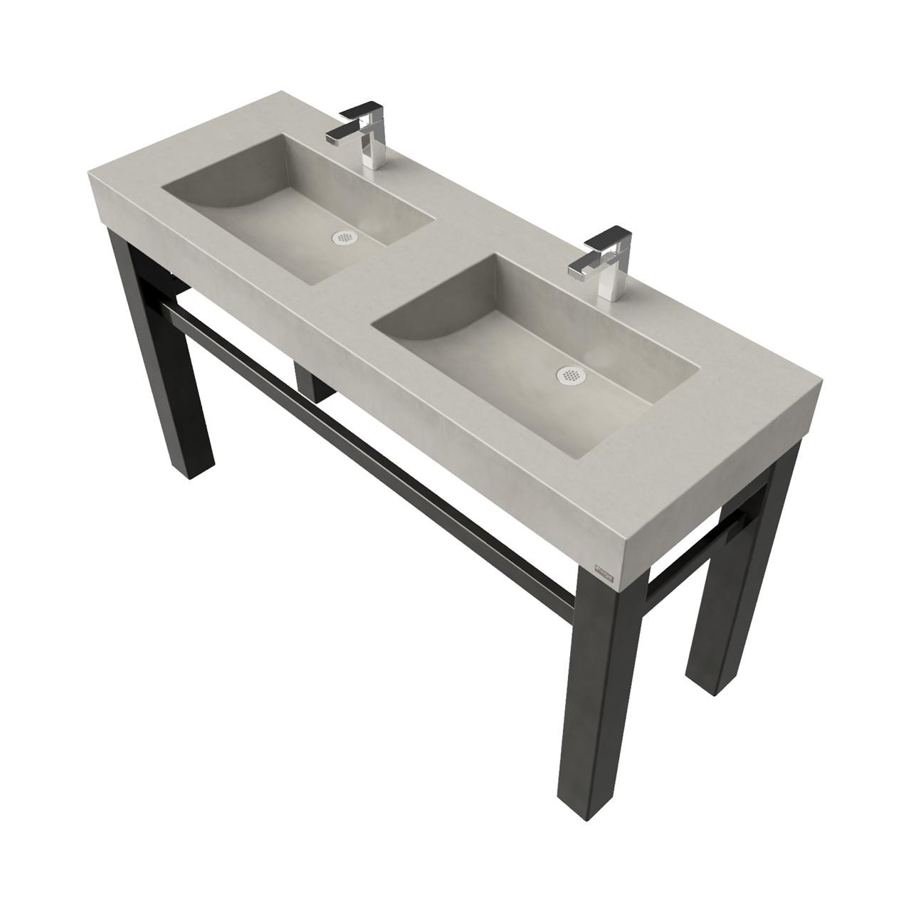 60 Industrial Vanity With Double Concrete Half Trough Sinks Trueform Concrete