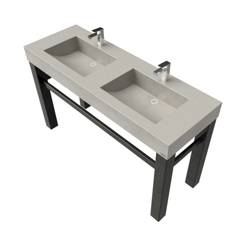 """60"""" Industrial Vanity With Double Concrete Ramp Sinks SKU: IND-60C-DBL Concrete shown in the color """"Limestone"""" Steel Base finish shown in """"Painted Black"""""""