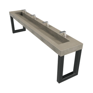 "The 128"" ZEN Commercial Washstand with 110"" Concrete Ramp Sink; designed for 4 wash stations.  Shown in color ""Pewter"". SKU: ZEN-128-110V-ADA"