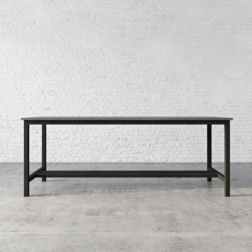 "The Union Concrete Dining Table, shown in the color ""Graphite"" with ""Industrial Dark"" base finish. TBL-UNIONPUB-C"