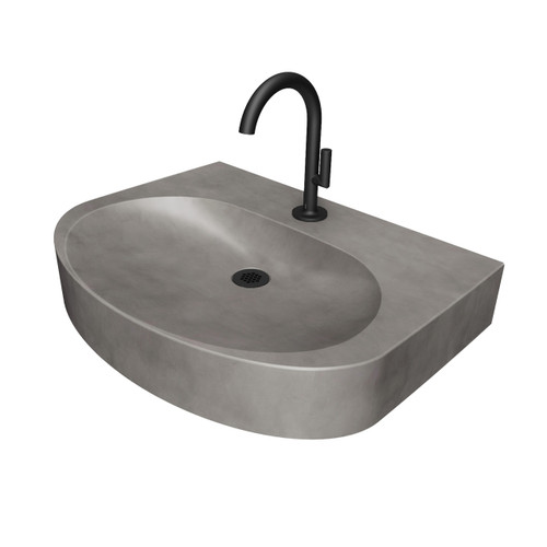"Ellipsa 24"" Concrete Sink by Trueform Concrete. Color in ""Graphite""."