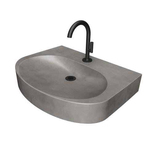 "Ellipsa 24"" Concrete Sink by Trueform Concrete. Color in ""Graphite""."