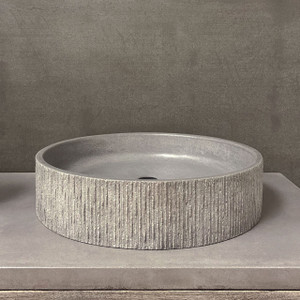 "GROOV Concrete Vessel Sink  in color ""Dusk"" by Trueform Concrete + Clodagh"