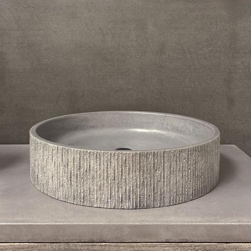 "GROOV Concrete Vessel Sink  in color ""Dusk"" by Trueform Concrete + Clodagh (shown in ""Dusk"")"