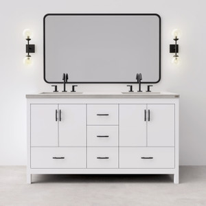 """Madison 60"""" Concrete Vanity, shown here with a """"Satin White"""" base and """"Concrete"""" colored top.  Features Flair Widespread Faucets by Signature Hardware (not included) Wall Sconce: Amira 2 