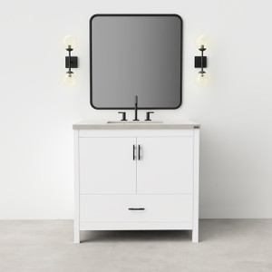 """36"""" Madison Vanity with Concrete Top. Featured here in Satin White finish with concrete top in """"Concrete"""" color."""