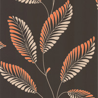 Aubrey Dark Brown Modern Leaf Trail