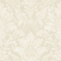 Cynthia Grey Distressed Damask Wallpaper