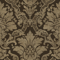 Cynthia Black Distressed Damask Wallpaper