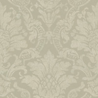 Cynthia Charcoal Distressed Damask Wallpaper