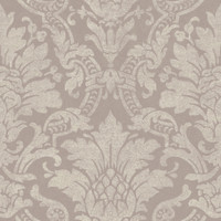 Cynthia Purple Distressed Damask Wallpaper