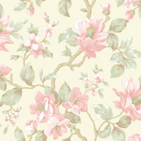 Berkin Olive Large Floral Vine Wallpaper