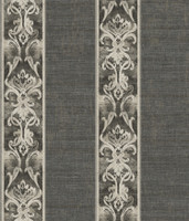 Elsa Black Alternating Damask Stripe Wallpaper