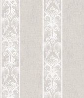 Elsa Taupe Alternating Damask Stripe Wallpaper
